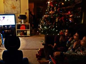 "Boys watching ""A Christmas Story"" Christmas Eve 2014"